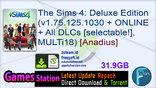 The Sims 4 Deluxe Edition (v1.75.125.1030 + ONLINE + All DLCs [selectable!], MULTi18) [Anadius]