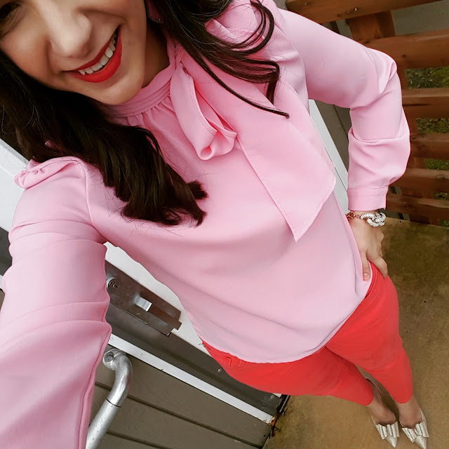 Teacher Valentine's Outfit with Pink Bow Blouse and Gold Bow Heels