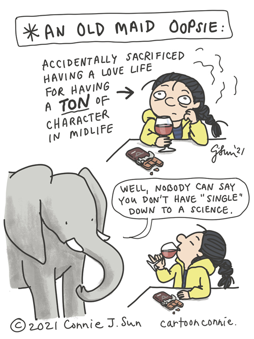 Single life valentine's day cartoon, humor, illustration, sketchbook, drawing, elephant comics, by Connie Sun, cartoonconnie