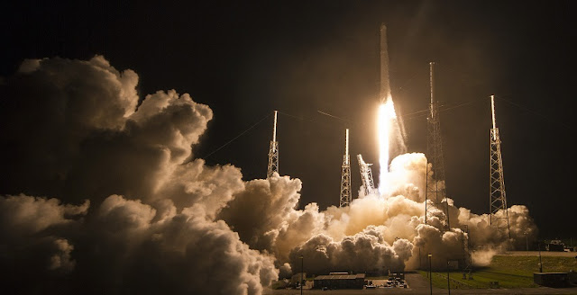 Cargo, experiments, and supplies for the International Space Station's Expedition 48 crew lifted off the pad at 12:45 a.m. EDT (04:45 GMT) July 18 from Cape Canaveral's Space Launch Complex 40 in Florida. A SpaceX Falcon 9 launched the CRS-9 Dragon into the dark skies on a two-day journey to the orbiting laboratory. Credit: SpaceX