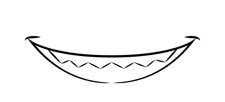 Anime gigi tajam tersenyum menggambar mulut