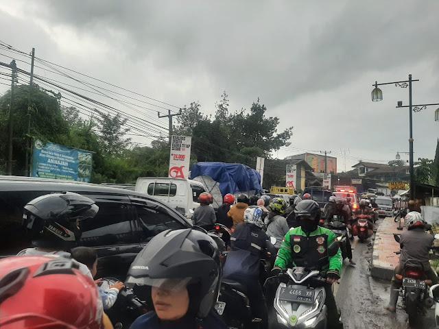 Pohon Tumbang Timpa Rumah dan Bengkel, Jalan Cianjur - Cipanas Macet Total