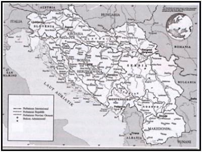 Wilayah bekas Negara Yugoslavia ditunjukkan wama putih.