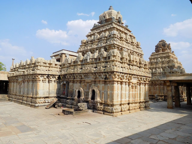 The two spires (vimanas) of the Bhoga Nandeeshwara Temple, Karnataka