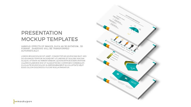 Free PowerPoint Template with 3D 4 Layered  Screen Mockups to the right