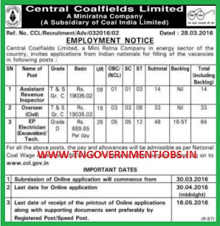 Online Applications are invited for Assistant Revenue Inspector, Overseer and Electrician Posts in Central Coalfields Ltd (CCL)