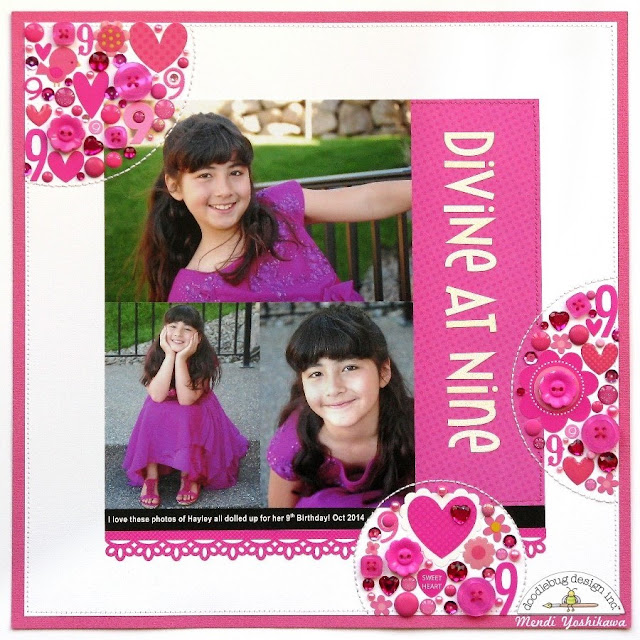 Doodlebug Divine At Night Bubblegum Pink Birthday Layout by Mendi Yoshikawa