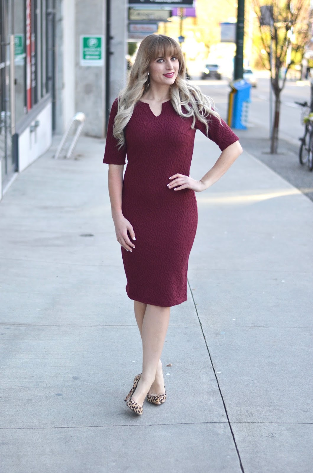 business casual burgundy dress