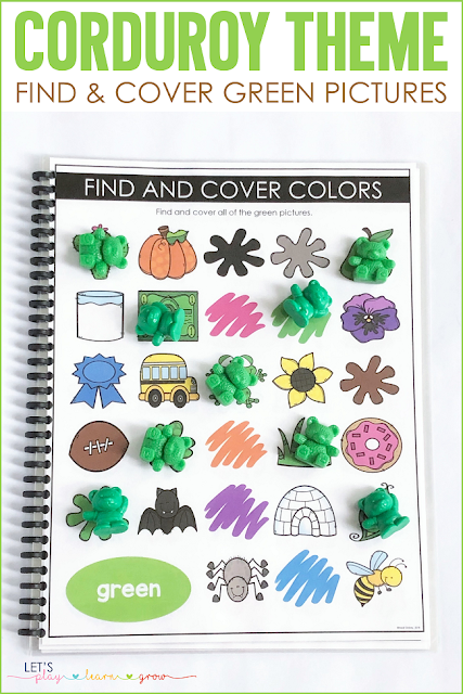 Corduroy: Find and Cover Green Pictures Mat