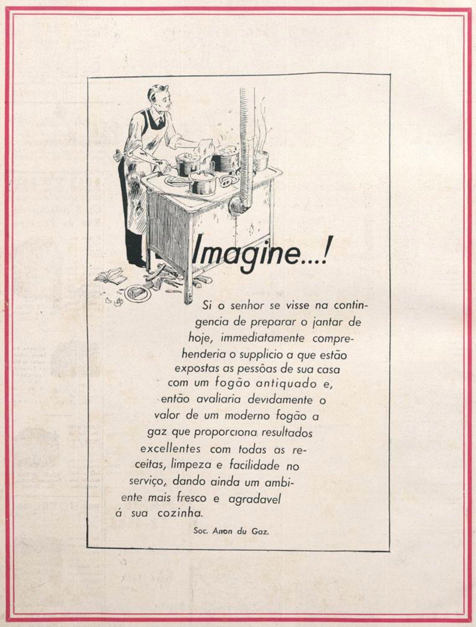 Anúncio promovia o consumo do gás de cozinha no ano de 1936