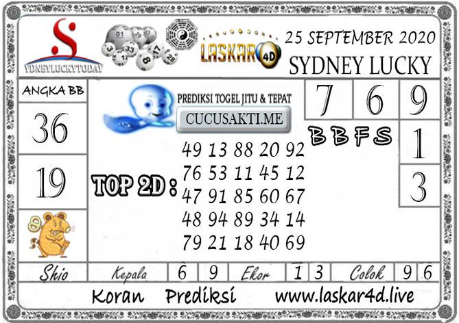 Prediksi Sydney Lucky Today LASKAR4D 25 SEPTEMBER 2020