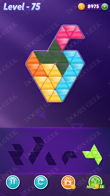 Block! Triangle Puzzle 5 Mania Level 75 Solution, Cheats, Walkthrough for Android, iPhone, iPad and iPod