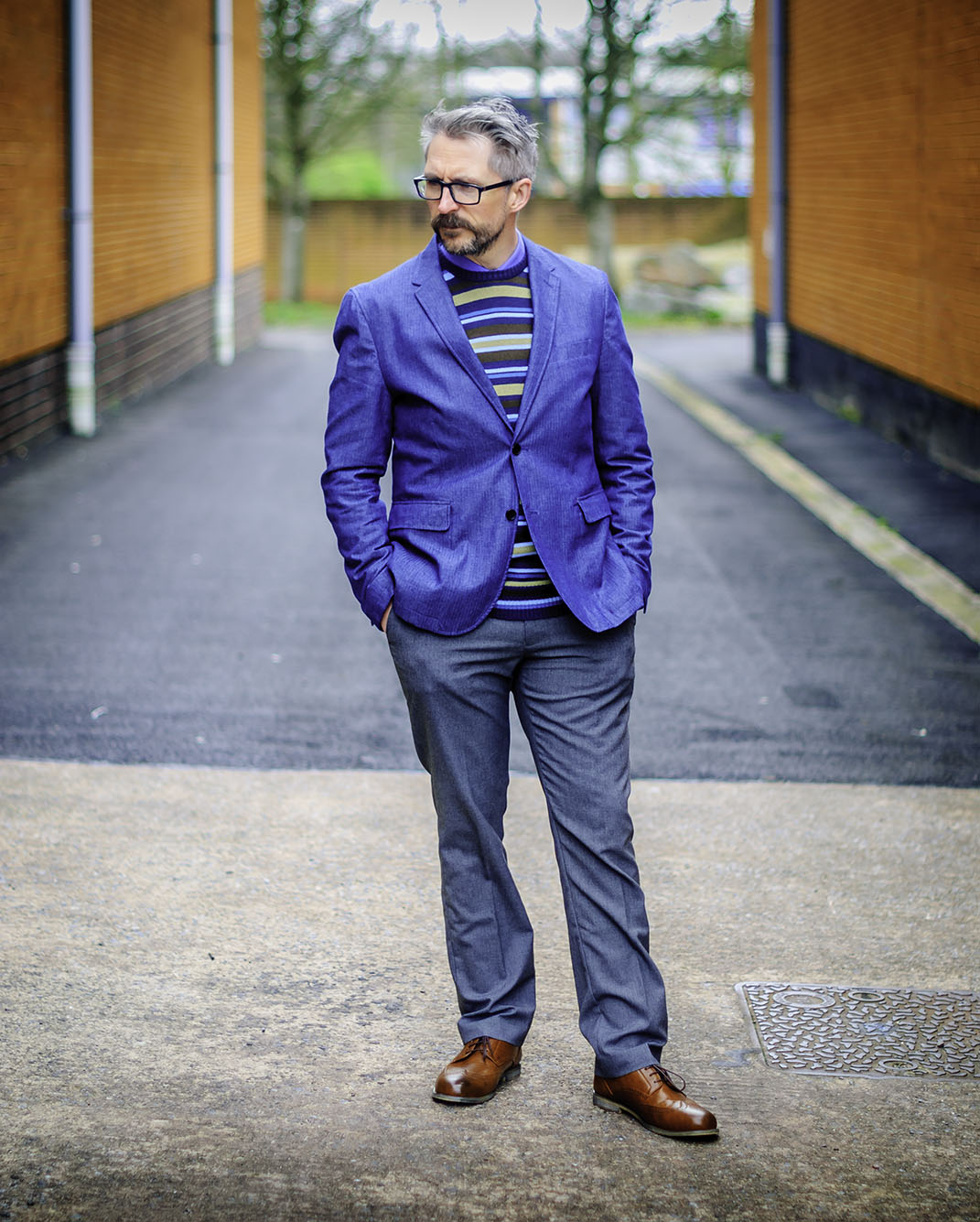 Smart menswear: Blue blazer \ striped sweater \ grey dress trousers \ brown brogues | Silver Londoner, over 40 style