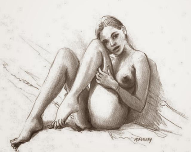 dibujos-a-lapiz-mujeres-sentadas