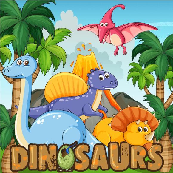 Simpático grupo de dinosaurios cartoon de cuento infantil,  con fondo y letrero estilo Jurasicpark