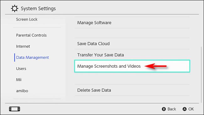 """في التبديل """"إدارة البيانات"""" ، حدد """"إدارة لقطات الشاشة ومقاطع الفيديو""""."""