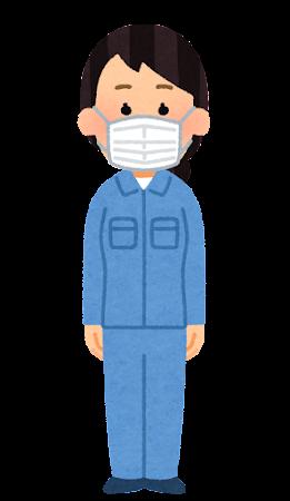マスクを付けた作業員のイラスト(女性)