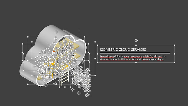 Editable Free Infographic PowerPoint template with isometric cloud service.