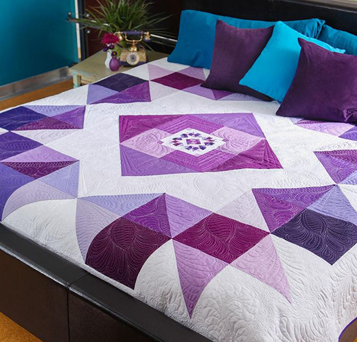 Orchid Mega Quilt Free Pattern designed by Ramona Rose for Robert Kaufman Featuring Kona Cotton  Solids