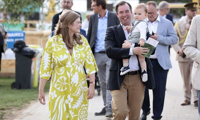 Princess Stephanie wore a new poppy jersey  chartreuse, garden tropic maxi dress from Boden. Prince Charles