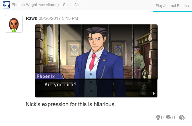 Phoenix Wright Ace Attorney Spirit of Justice are you sick