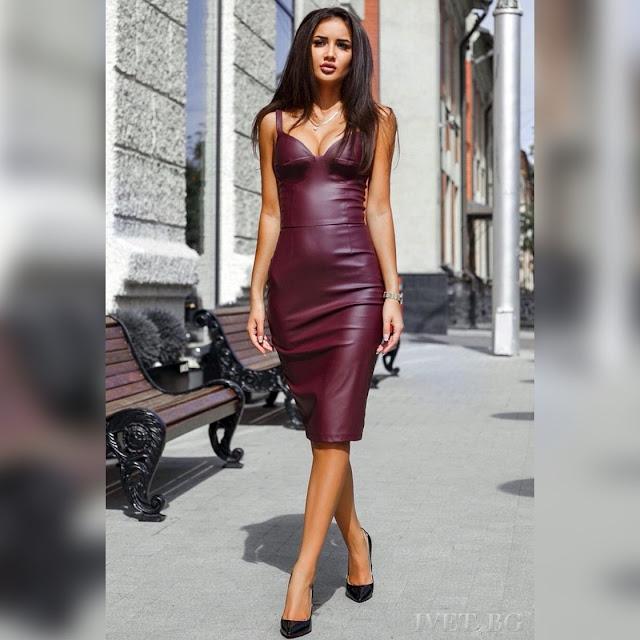 Μεσάτο μπορντό φόρεμα CONCHITA BORDO