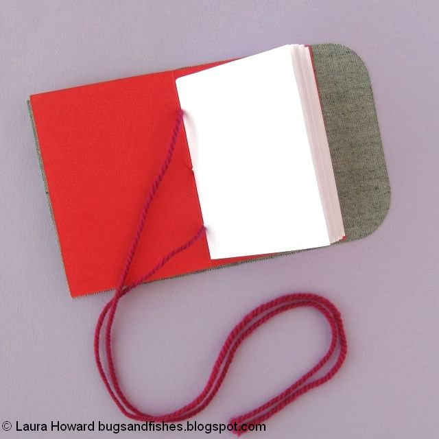 vegan leather mini notebook tutorial: attach the notebook to the cover