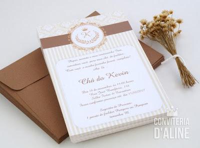 convite chá bebê realeza provençal