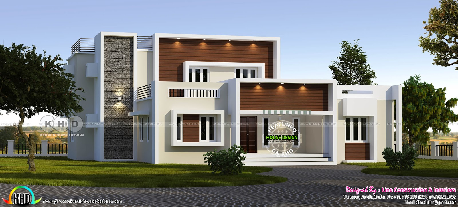 5 bedroom contemporary residence design kerala home for Modern residences
