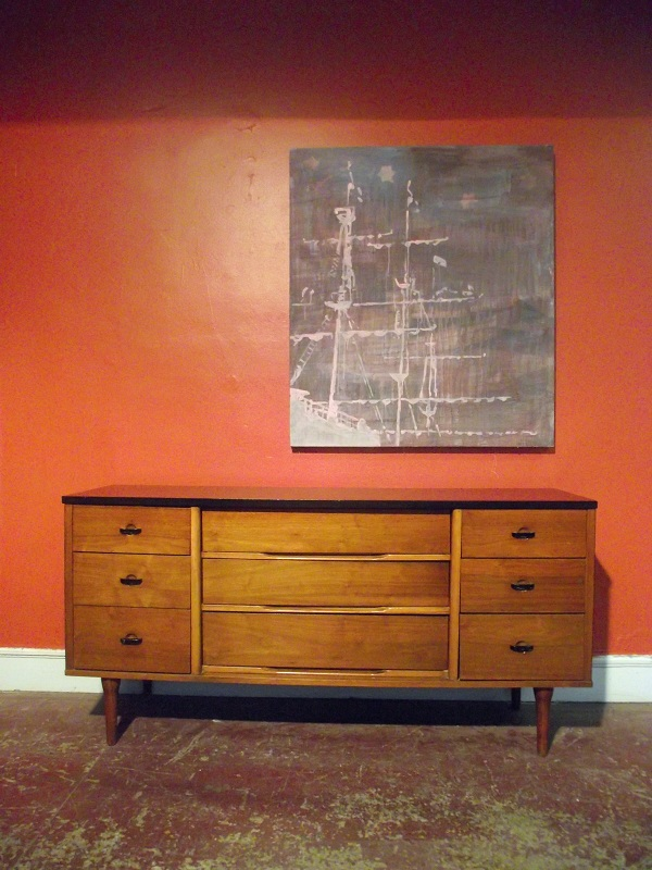 Vintage Ground Mid Century 9 Drawer Dresser  Buffet