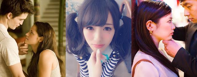Девушке делают аго-куи (слева и по центру), девушке делают кабэ-дон с аго-куи (справа)