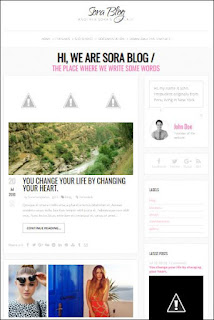 Sora Blog - Responsive Blogger Templates Without Footer Credit