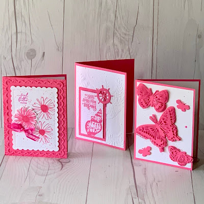 Three handmade greeting cards using Polished Pink In Color from Stampin' Up!