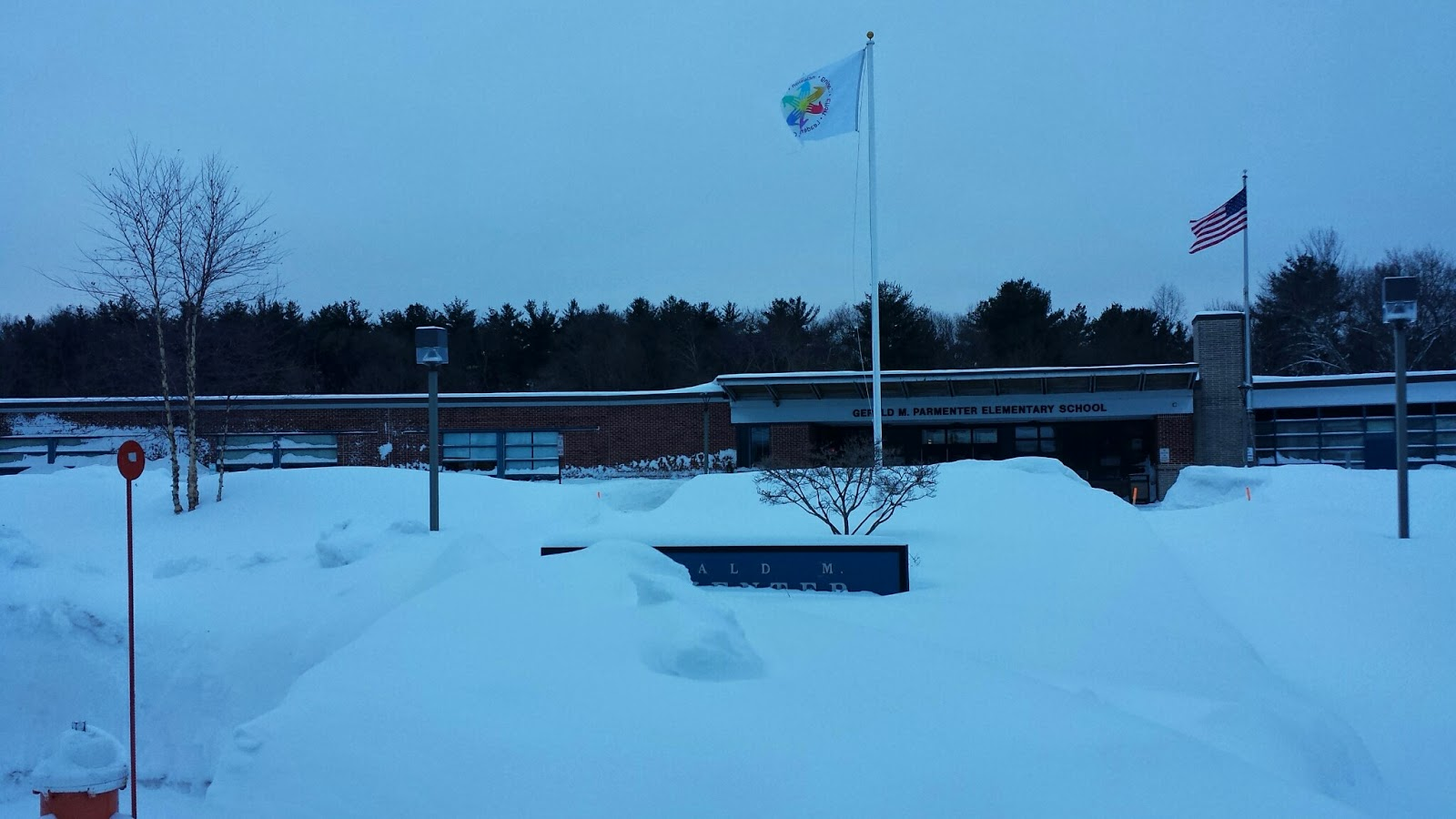 Parmenter Elementary school in the snow Tuesday morning, Feb 10