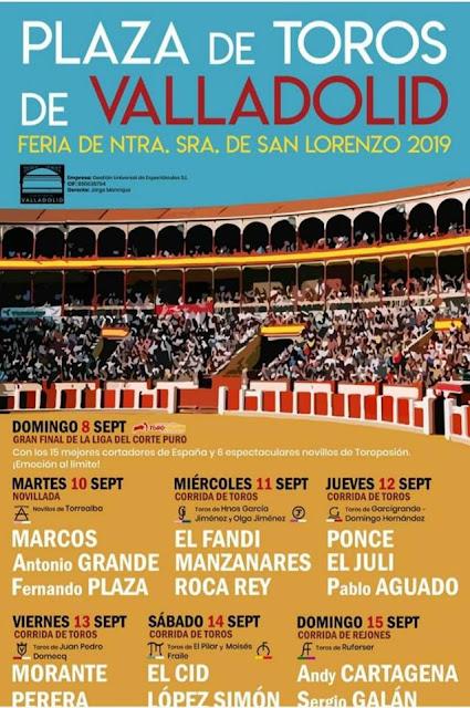 cartel de la fiesta taurina de Valladolid 2019