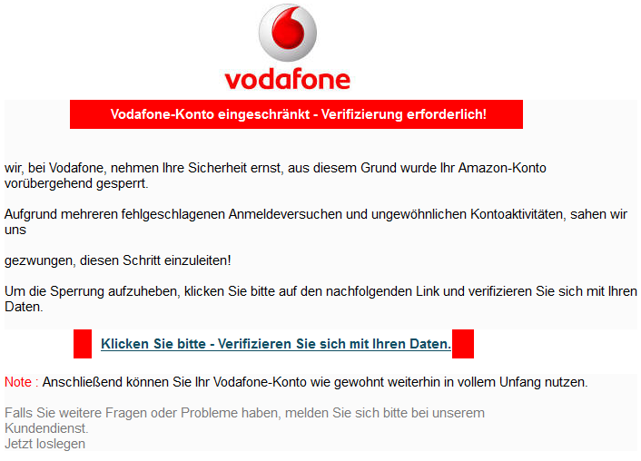 Vodafone Phishing Anruf