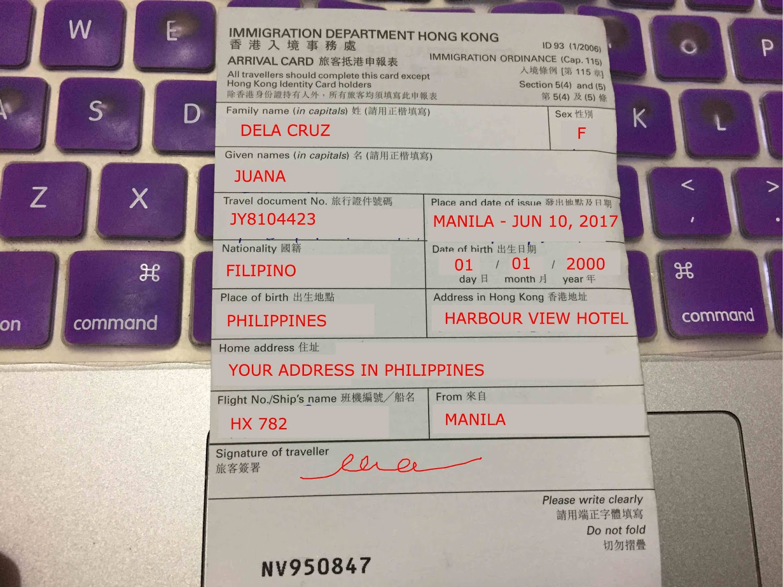 How to fill out Airport Departure Cards for Filipinos | The Girl