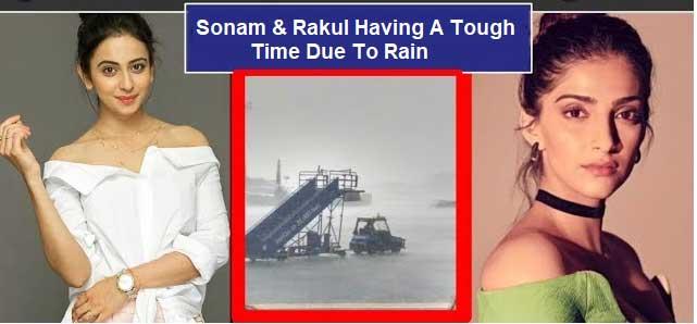 mumbai rain, sonam kapoor, rakul preet singh