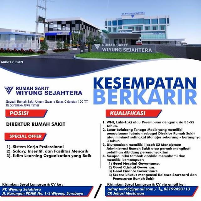 Loker Direktur Rumah Sakit Wiyung Sejahtera Surabaya, Jawa Timur