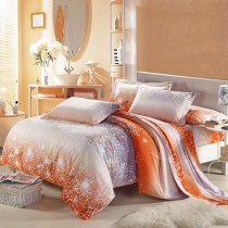 dormitorio en gris naranja