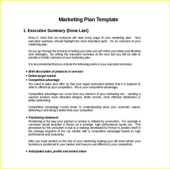Free Marketing Plan Template Word | Resume Business Template