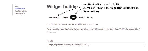 Pinterest-tallennuksen upotus blogiin