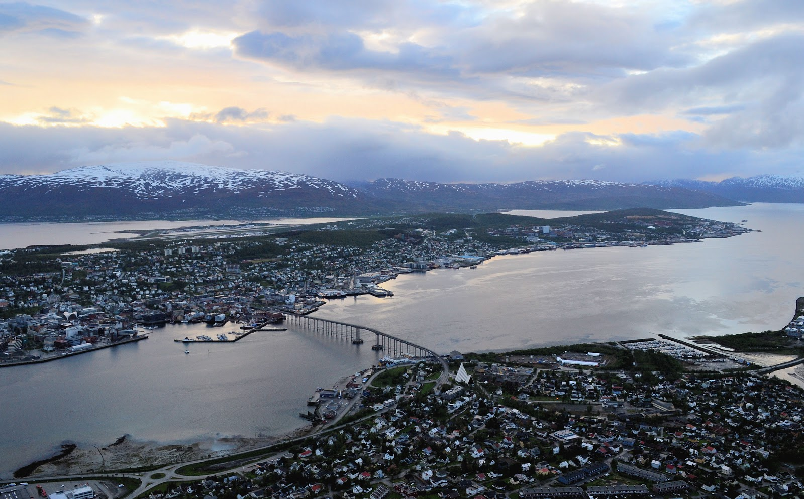 Tromsø Sound and city as seen from high atop the mountain ledge of Storsteinen.