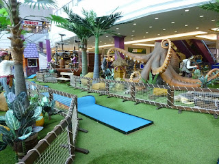 The kraken on the pop-up Pirate Mini Golf course at the Galleria Shopping Centre in Hatfield