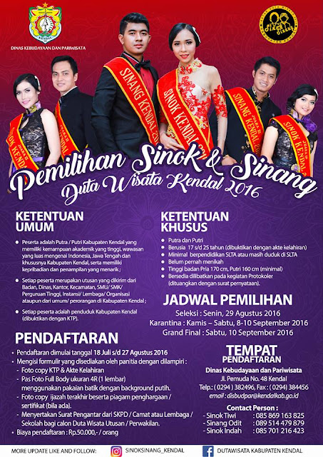 [Event] Kendal | 18 Juli - 10 September 2016 | Pemilihan Sinok Dan Sinang Duta Wisata Kabupaten Kendal 2016