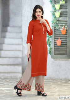 Delicate 14kg Rayon Embroidered Kurti and Palazzo Sets