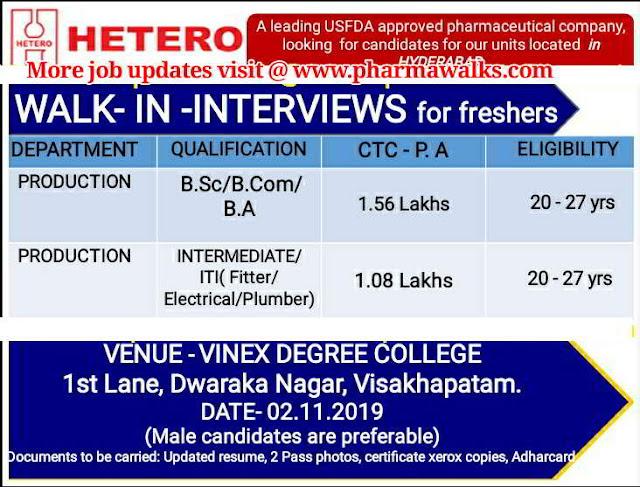 Hetero Labs - Walk-in interview for Freshers on 2nd November, 2019 @ Visakhapatnam