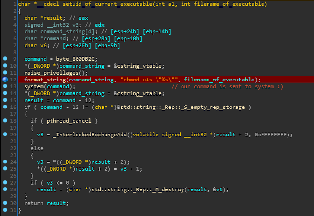vulnerable function with injected string highlighted