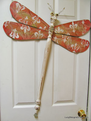 pink table leg dragonfly art