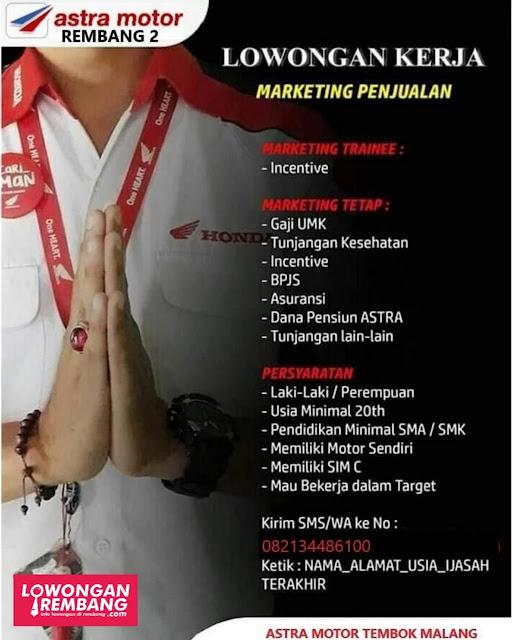 Lowongan Kerja Marketing Penjualan Astra Motor Rembang 2